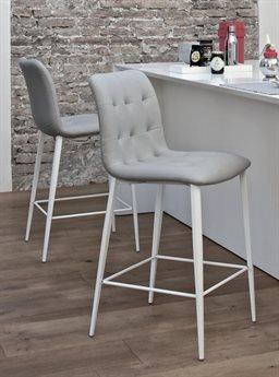 Bontempi Kuga Natural Silver / White Side Bar Height Stool BON4041M326TR505