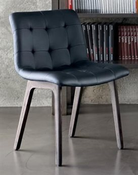 Bontempi Kuga Natural Silver / Black Side Dining Chair BON4038M326TR504