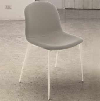 Bontempi Seventy White / Light Gray Side Dining Chair BON4050M306TR516