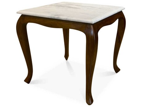 Boston Mills Corvus White Marble with Rosewood 24'' Wide Square End Table BSMBMTACR