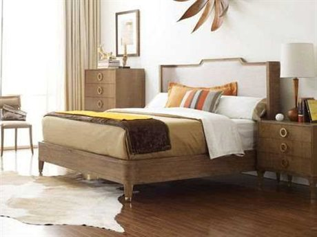 Brownstone Furniture Atherton Cerused Teak Eastern King Size Upholstered Platform Bed