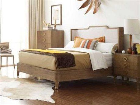Brownstone Furniture Atherton Cerused Teak California King Size Upholstered Platform Bed