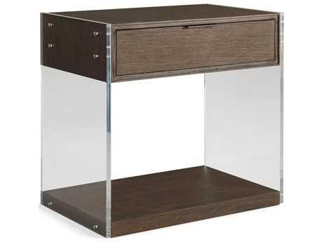Brownstone Furniture Dalton Nutmeg with Lucite 30''W x 19''D Rectangular Nightstand