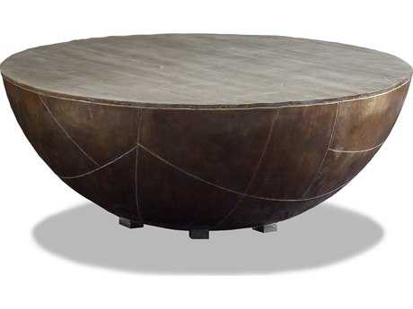 Brownstone Furniture Delano 48'' Round Fog Gray & Antique Brass Drum Coffee Table BRNDL502