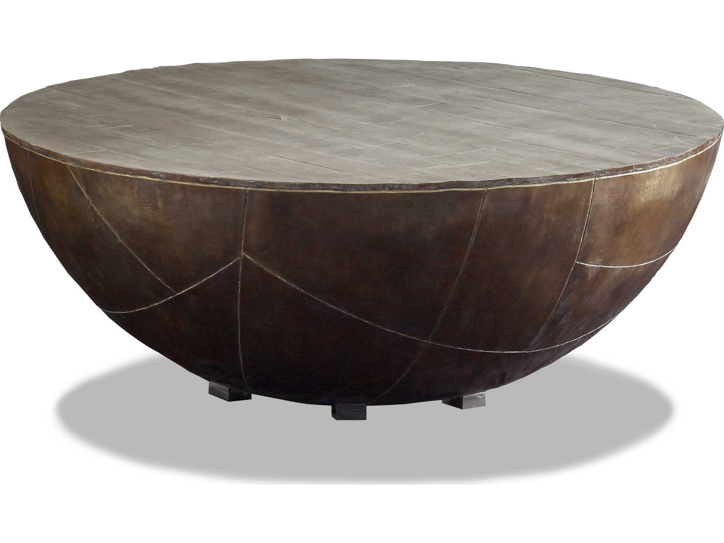 - Brownstone Furniture Delano 48'' Round Fog Gray & Antique Brass
