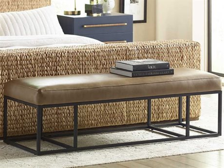 Brownstone Furniture Finley Caramel / Black Metal Accent Bench