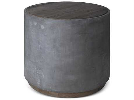Brownstone Furniture Griffin Natural Elm with Pewter Gray 26'' Wide Round Drum Table BRNGF500
