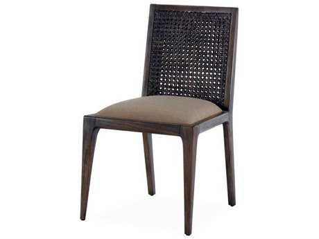 Brownstone Furniture Messina Rattan Smokey Brown & Pearl Linen Dining Side Chair BRNME202