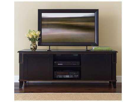 Brownstone Furniture Metropolitan 65''L x 22''W Espresso and Antique Gold Crackle Trim Plasma Console TV Unit BRNMTSAV216