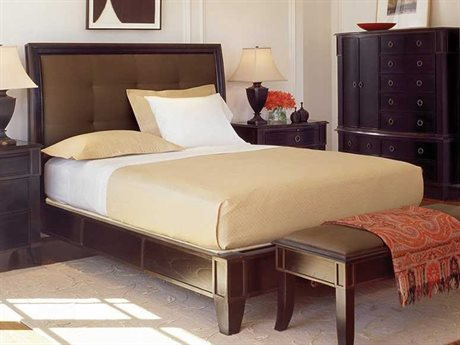 Brownstone Furniture Metropolitan Espresso And Antique Gold Crackle Trim Queen Platform Bed