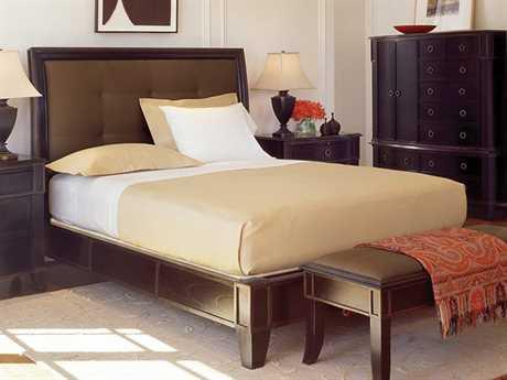 Brownstone Furniture Metropolitan Espresso and Antique Gold Crackle Trim Eastern King Size Upholstered Platform Bed