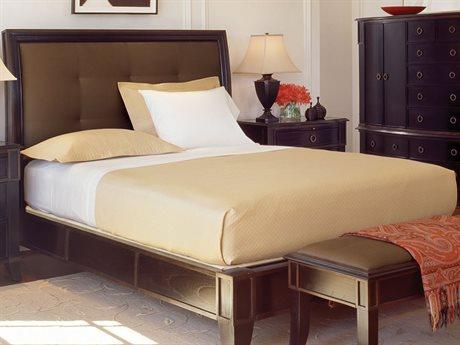 Brownstone Furniture Metropolitan Espresso and Antique Gold Crackle Trim California King Size Upholstered Platform Bed