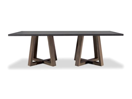 Brownstone Furniture Saratoga 94''L x 41''W Rectangular Smoke & Driftwood Gray Dining Table