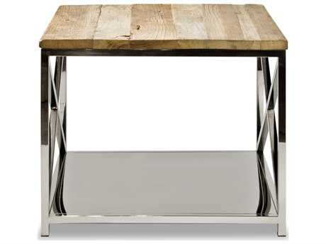 Brownstone Furniture Sonoma 23.5'' Wide Square Reclaimed Elm Tops with Polished Steel Bases End Table