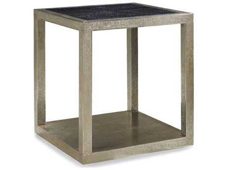 Brownstone Furniture Treviso 22'' Square Black Crocodile Leather with German Silver End Table BRNTR500