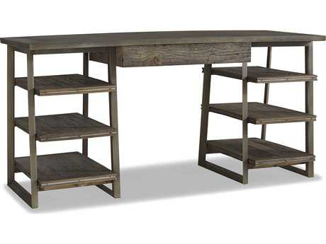 Brownstone Furniture Winston 62''L x 24''W Rectangular Natural Elm & Gun Metal Computer Desk BRNWN600