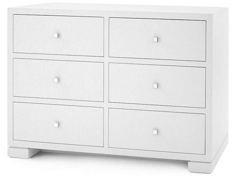 Bungalow 5 White 6 Drawers Double Dresser BUNFRA25059