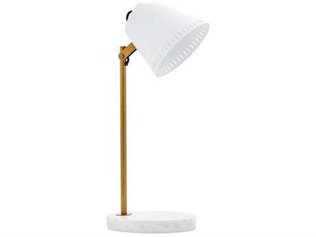 Bungalow 5 Hornet Antique Brass / White Desk Lamp BUNHRN800803