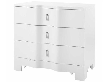 Bungalow 5 White 3 Drawers Nightstand BUNBRI13009