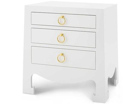 Bungalow 5 White 3 Drawers Nightstand BUNJAC13009