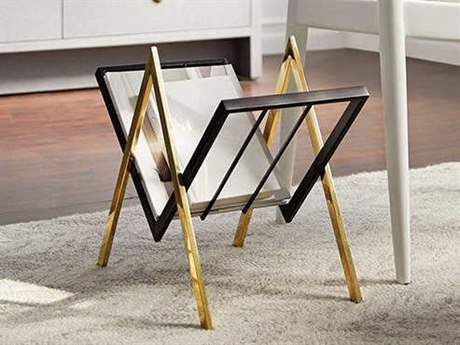 Bungalow 5 Sutton Polished Brass / Black Magazine Stand BUNSTT700803