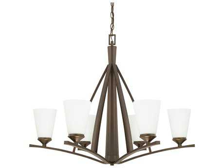 Capital Lighting Boden Burnished Bronze with Soft White Glass Six-Light 33'' Wide Chandelier