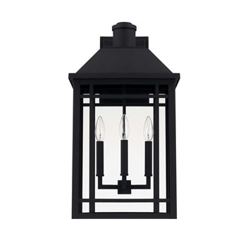 Capital Lighting Braden Black Three-Lights 13'' Wide Outdoor Wall Lantern