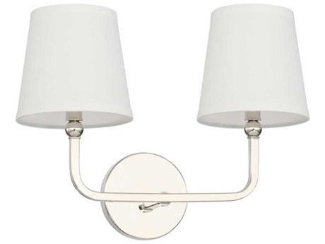 Capital Lighting Dawson Polished Nickel Two-Lights 16'' Wide Vanity Light C2119321PN674