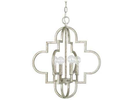 Capital Lighting Ellis Antique Silver Four-Light 18'' Wide Pendant Light C24541AS