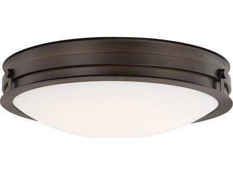 Capital Lighting Burnished Bronze with Milk Glass 15'' Wide LED Flush Mount Light C2213911BBLD