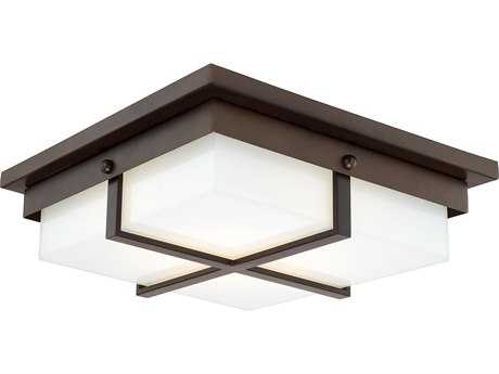 Capital Lighting Burnished Bronze with Milk Glass 15'' Wide LED Flush Mount Light C2213912BBLD