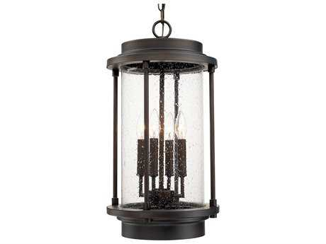 Capital Lighting Grant Park Old Bronze with Clear Seeded Glass Four-Light Outdoor Hanging Lantern Light C2918142OB