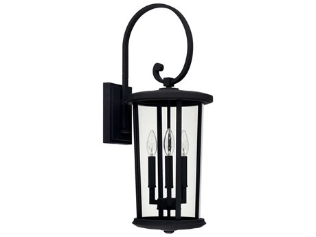 Capital Lighting Howell Black Three-Lights 10'' Wide Outdoor Wall Lantern