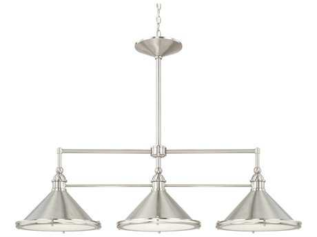 Capital Lighting Langley Brushed Nickel with Glass Diffuser Three-Light 44'' Wide Island Light C2812231BN