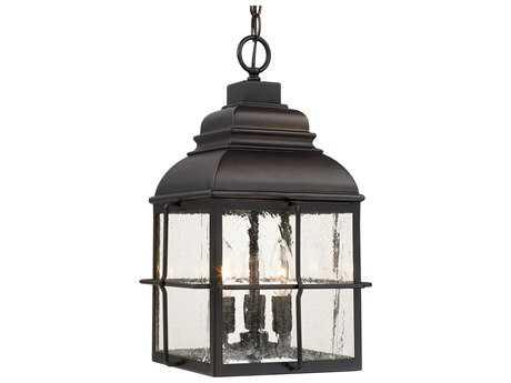 Capital Lighting Lanier Old Bronze with Antique Glass Three-Light Outdoor Hanging Lantern Light C2917832OB