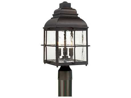 Capital Lighting Lanier Old Bronze with Antique Glass Three-Light Post Lantern Light C2917833OB