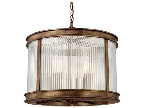 Capital Lighting Reid Rustic with Ribbed Glass Four-Light 18'' Wide Pendant Light
