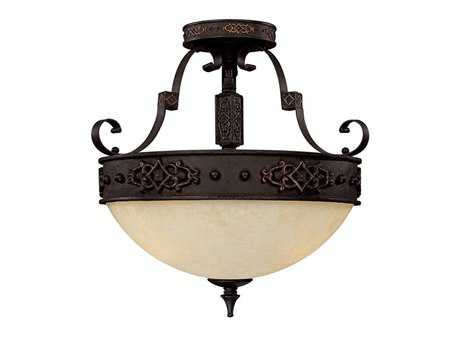 Capital Lighting River Crest Rustic Iron Three-Light Semi-Flush Mount Light C23603RI