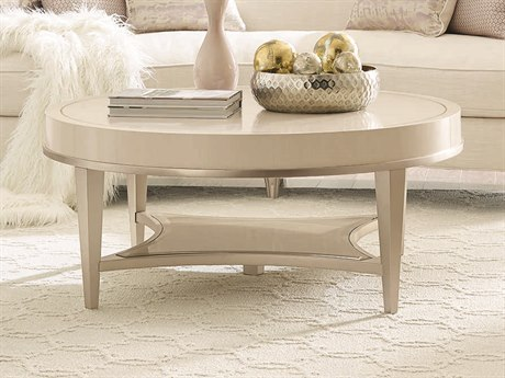Caracole Compositions Adela Washed White/ Blush Taupe 44'' Wide Round Cocktail Table CASC011016401