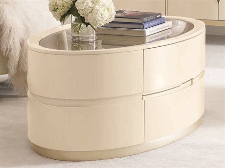Caracole Compositions Adela Washed White/ Blush Taupe 55''W x 28''D Oval Cocktail Table CASC011016403