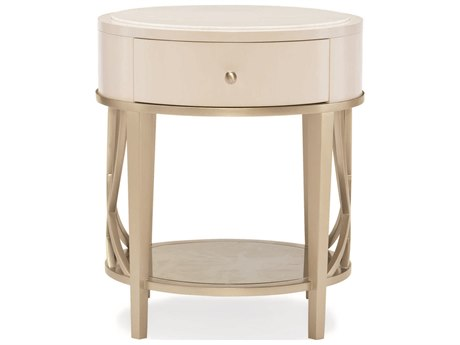 Caracole Compositions Adela Washed White/ Blush Taupe 24'' Wide Round Drum Table