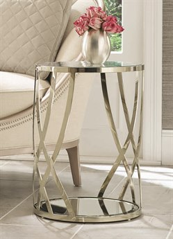 Caracole Compositions Adela Tempered Glass / Whisper of Gold 16'' Wide Round Drum Table CASC011016422