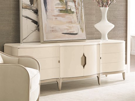Caracole Compositions Adela Washed White/ Blush Taupe 91''W x 24''D Rectangular Media Cabinet CASC011016531