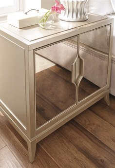 Caracole Compositions Adela Blush Taupe / Antique Mirror 31''W x 20''D Rectangular Two-Door Nightstand