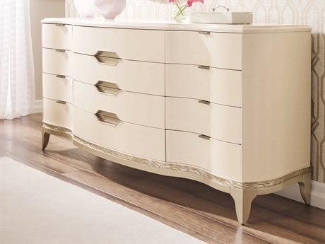 Caracole Compositions Adela Washed White / Blush Taupe Twelve-Drawer Triple Dresser CASC013016031