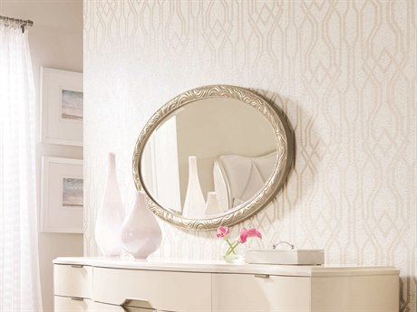 Caracole Compositions Adela Blush Taupe 49''W x 28''H Oval Wall Mirror