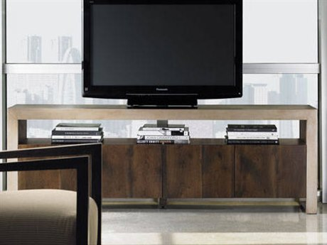 Caracole Modern Artisans Dark Fumed Oak with Matte Gold 76''W x 17''D Rectangular Media Cabinet CAMATSMEDIA001