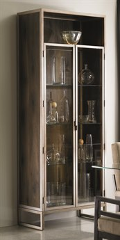 Caracole Modern Artisans Dark Fumed Oak with Matte Gold Display Cabinet CAMATSDISCAB001