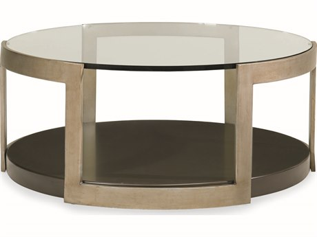 Caracole Modern Artisans Clear Glass with Matte Gold & Forest 43'' Wide Round Cocktail Table