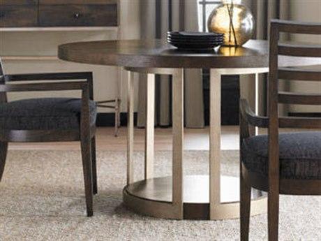 Caracole Modern Artisans Dark Fumed Oak with Matte Gold 54'' Wide Round Pedestal Dining Table CAMATSDINTAB002